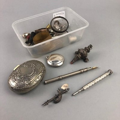 Lot 27 - A SILVER RATTLE AND OTHER COLLECTABLES