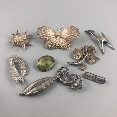 Lot 25 - A LOT OF NINE SILVER BROOCHES
