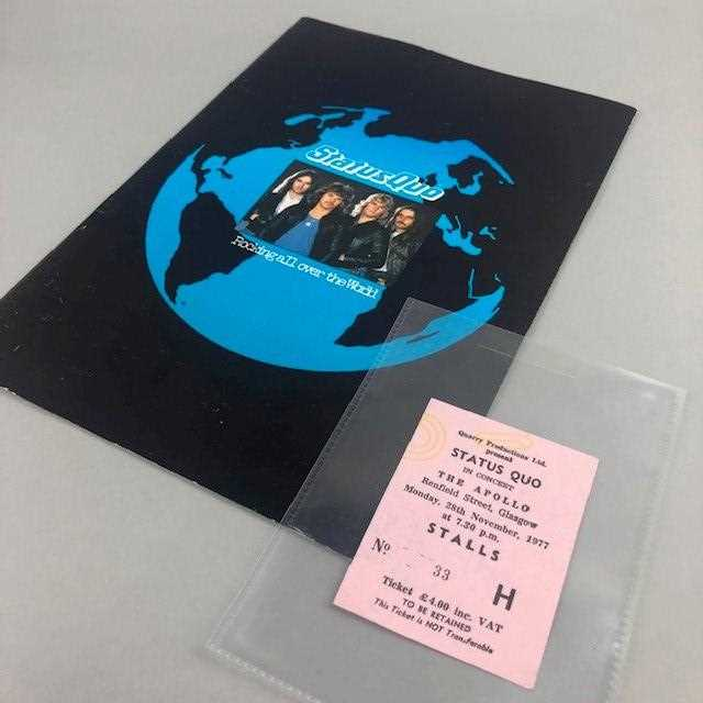 Lot 64 - A 1970S STATUS QUO CONCERT TICKET AND PROGRAMME