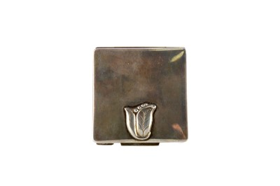 Lot 1701 - A STERLING SILVER SQUARE COMPACT BY GEORG JENSEN