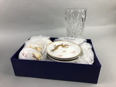 Lot 128 - A CUT GLASS VASE, JAPANESE PART TEA SERVICE AND OTHERS