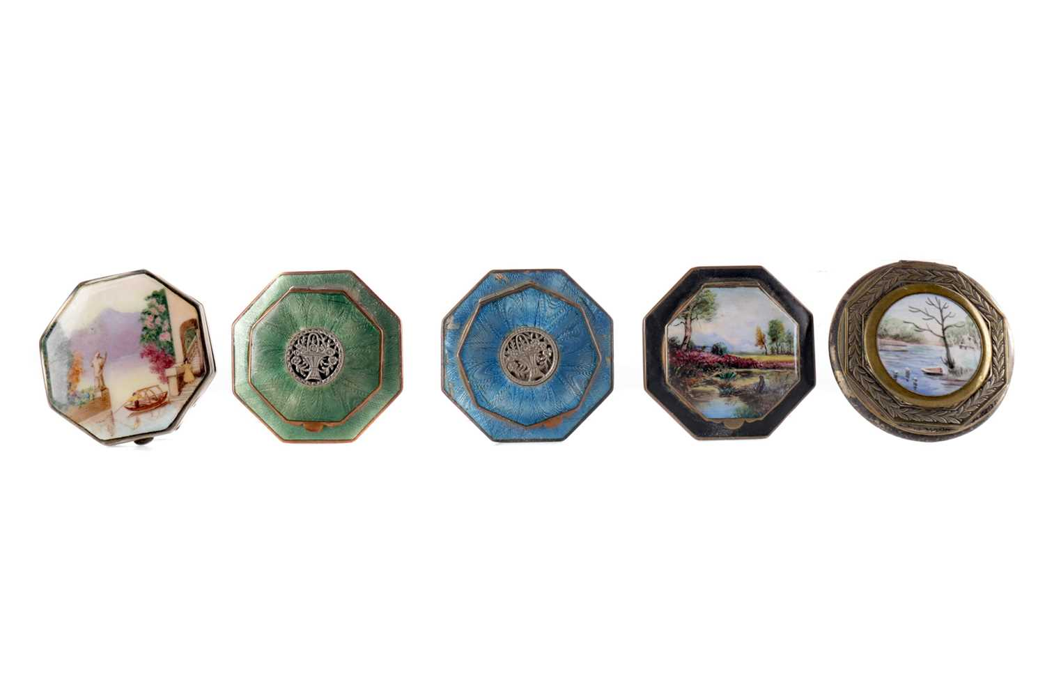 Lot 1715 - A VOGUE SILVER AND ENAMEL OCTAGONAL COMPACT AND FOUR OTHERS