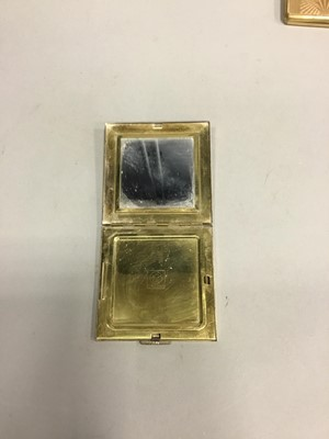 Lot 1716 - A LOT OF FOUR ART DECO GOLD PLATED OBLONG AND SQUARE COMPACTS