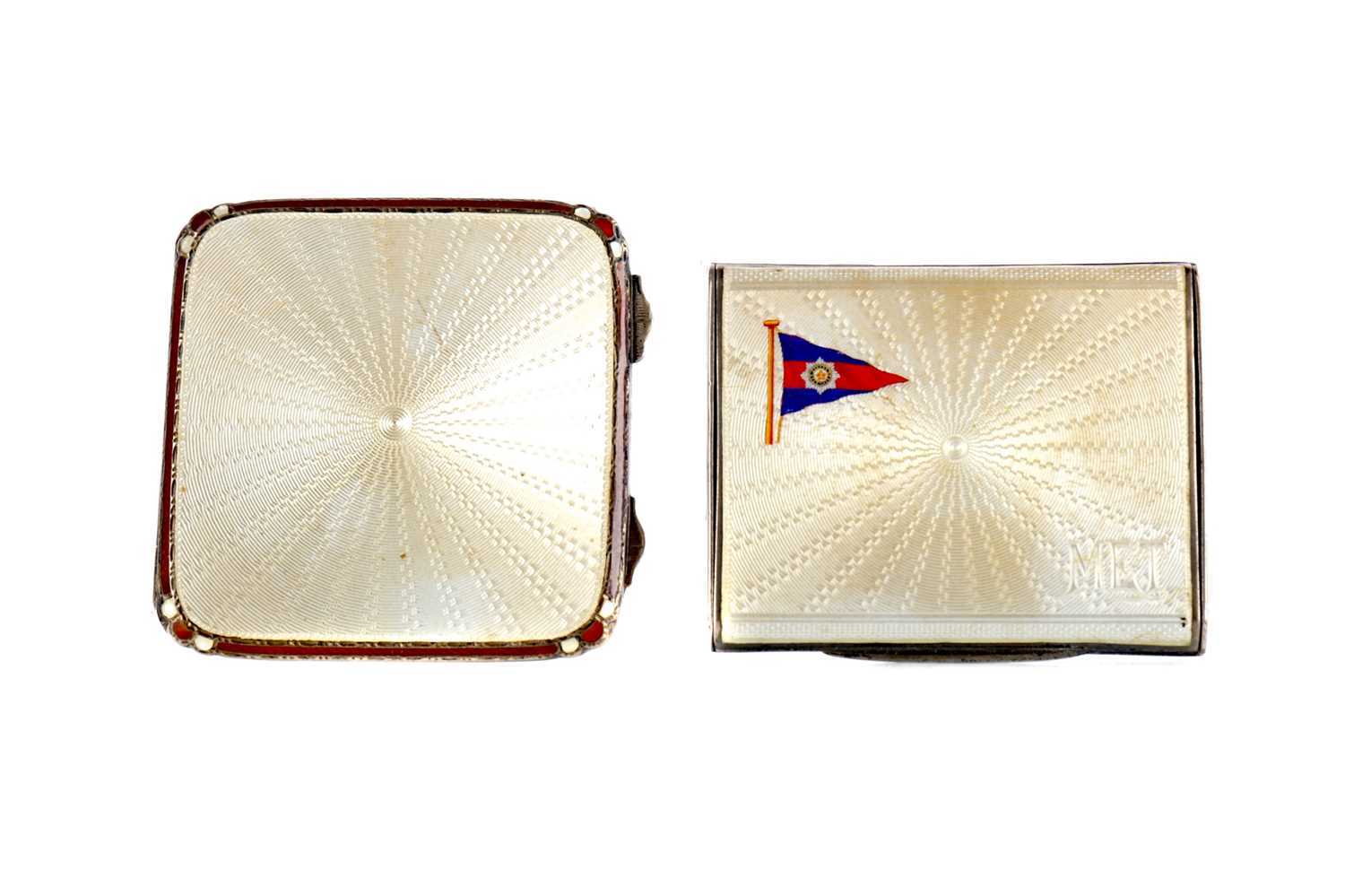 Lot 1718 - A SILVER AND GUILLOCHE ENAMEL SQUARE SHAPED COMPACT AND ANOTHER