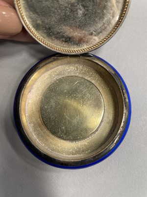 Lot 1720 - A GERMAN STERLING SILVER AND LAPIS ENAMEL DOUBLE COMPACT/ PILL BOX