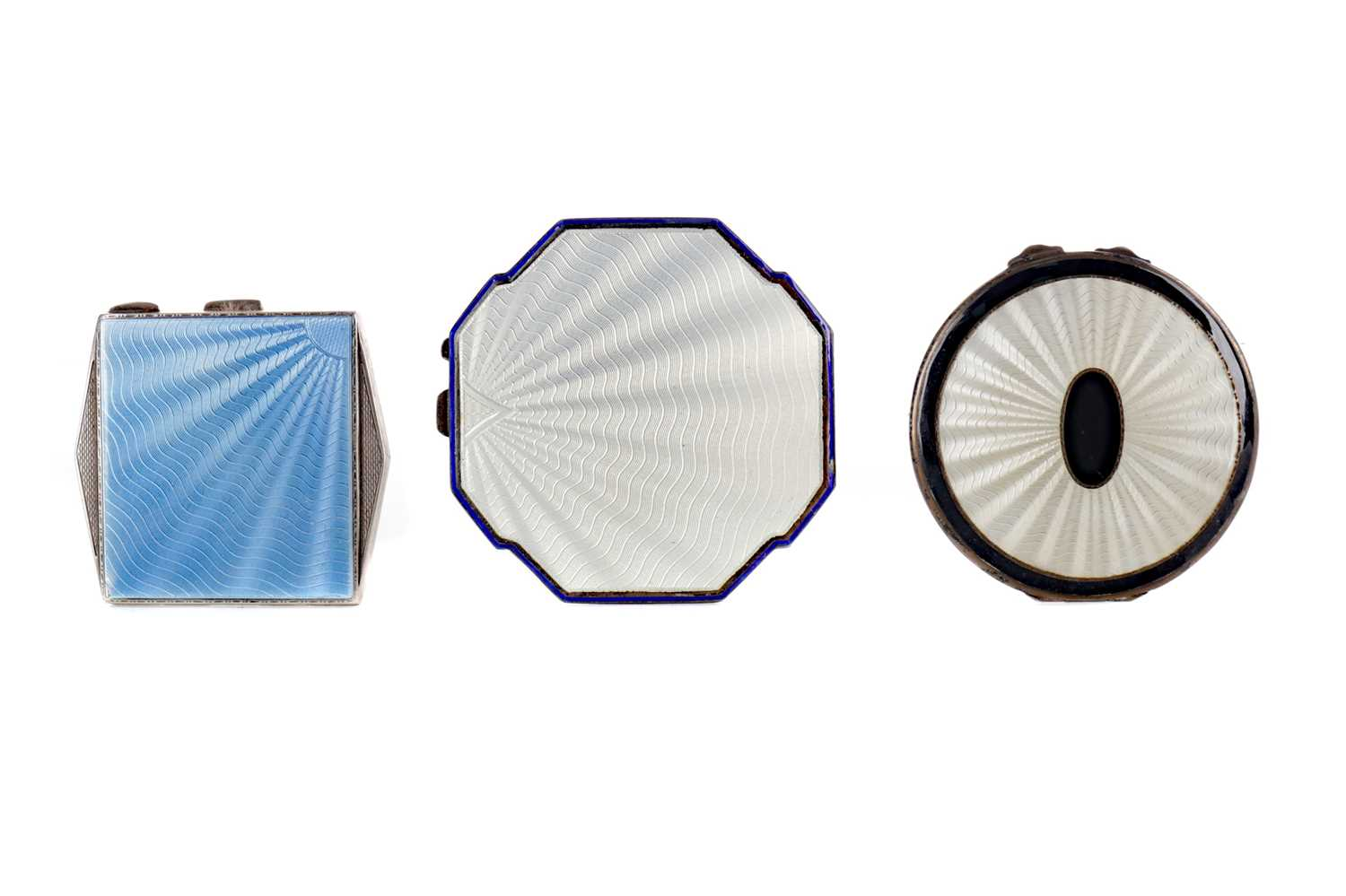Lot 1722 - AN ART DECO SILVER AND GUILLOCHE ENAMEL COMPACT AND TWO OTHERS