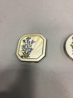 Lot 1724 - AN ENGINE TURNED SILVER AND GUILLOCHE ENAMEL COMPACT AND TWO OTHERS