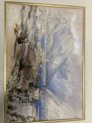 Lot 78 - VILLAGE SCENE, A WATERCOLOUR BY JAMES DUFFIELD HARDING
