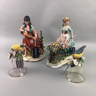 Lot 140 - TWO CAPO DI MONTE STYLE FIGURES AND OTHERS