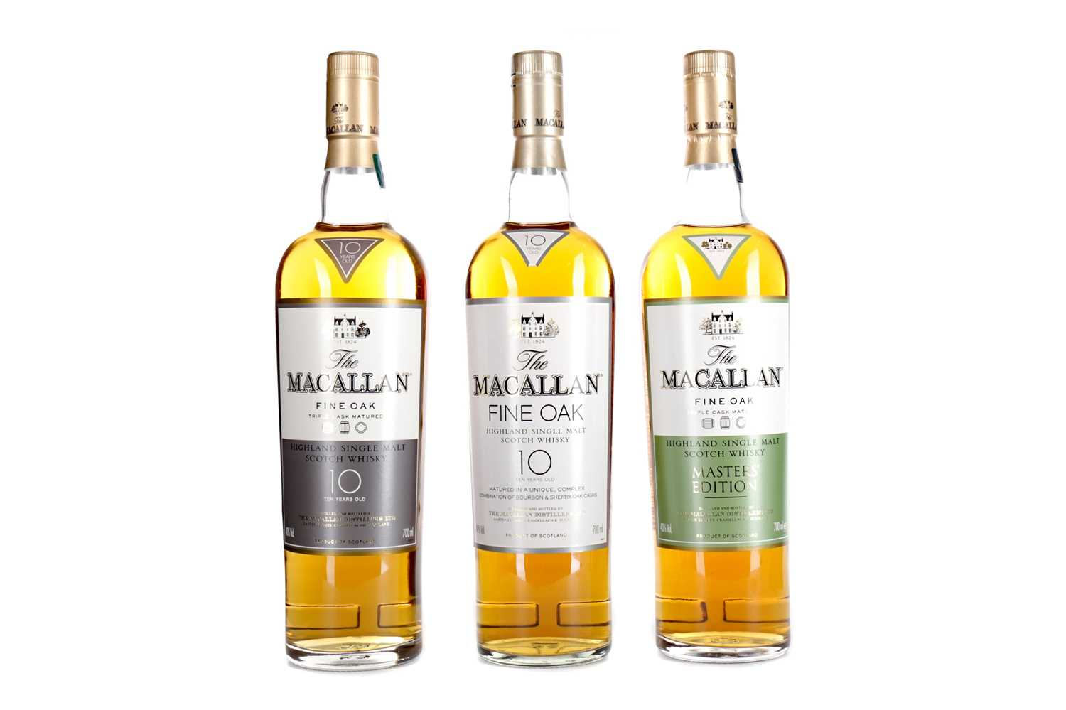 Lot 191 - TWO MACALLAN FINE OAK 10 YEARS OLD AND ONE MASTERS' EDITION