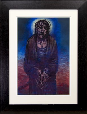 Lot 233 - STUDY OF CHRIST - THE WAY TO CALVARY, A PASTEL BY PETER HOWSON