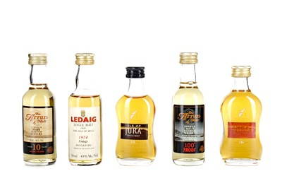 Lot 76 - FIVE ISLAND SINGLE MALT SCOTCH WHISKY MINIATURES