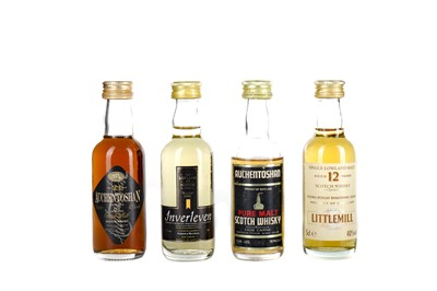 Lot 77 - FOUR LOWLAND SINGLE MALT SCOTCH WHISKY MINIATURES