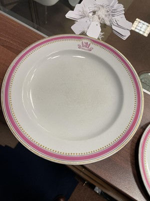 Lot 1094 - A BELLEEK ARMORIAL DINING PLATE, SOUP BOWL AND SIDE PLATE