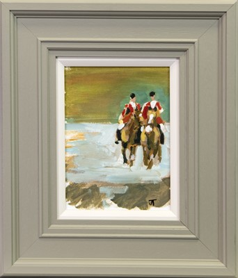 Lot 262 - THE HUNT, AN OIL BY JANE THOMPSON