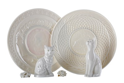 Lot 1106 - A LOT OF THREE BELLEEK PLATES ALONG WITH A LITHOPHANE, TWO CATS AND TWO BROOCHES