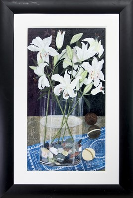 Lot 265 - STILL LIFE WITH LILIES, A MIXED MEDIA BY SANDRA MOFFAT