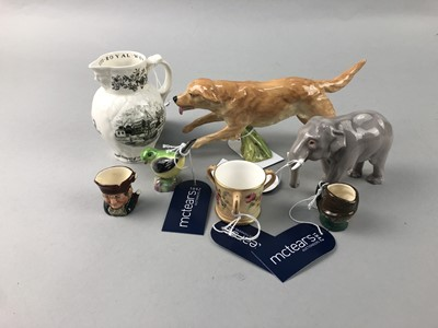 Lot 152 - A ROYAL WORCESTER FIGURE OF A RETREIVER AND OTHERS