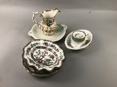 Lot 154 - A SPODE DESSERT BOWL SET, HAMMERSLEY JUG AND OTHERS