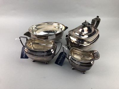 Lot 193 - A THREE PIECE SILVER PLATED TEA SERVICE AND AN ART DECO DISH