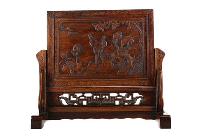 Lot 855 - A 20TH CENTURY CHINESE WOOD TABLE SCREEN
