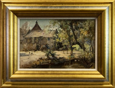Lot 70 - THE OLD FARM BY THE RIVER, AN OIL BY JOE MILNE
