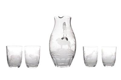 Lot 1003 - A ROWLAND WARD 'SAFARI' RANGE PITCHER AND FOUR GLASS SET