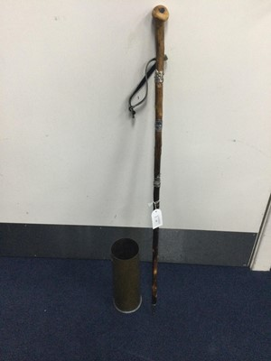 Lot 46 - A LOT OF TWO POLICE TRUNCHEONS ALONG WITH A WALKING STICK AND A SHELL CASING