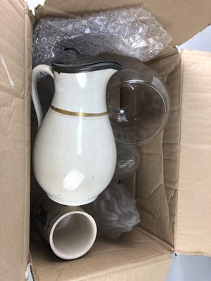 Lot 55 - A LOT OF FIVE GLASS SHADES AND A VICTORIAN WATER JUG AND TANKARD