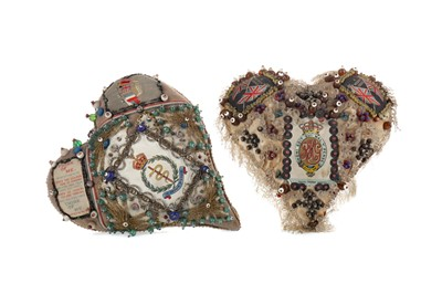 Lot 1301 - A LOT OF TWO WWI PERIOD SWEETHEART PIN CUSHIONS
