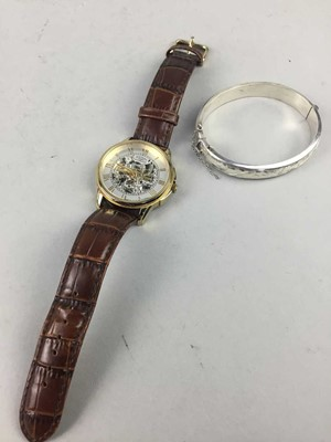 Lot 3 - A GENTLEMAN'S ROTARY WRISTWATCH AND A SILVER BANGLE