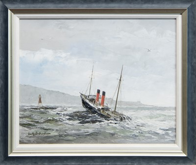 Lot 574 - CLYDESDALE - RAN ONTO LADY ROCK IN THE SOUND OF MULL, AN OIL BY IAN G ORCHARDSON