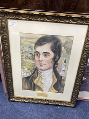 Lot 167 - A PASTEL BY JOHN CLIFFORD AND A PRINT OF ROBERT BURNS