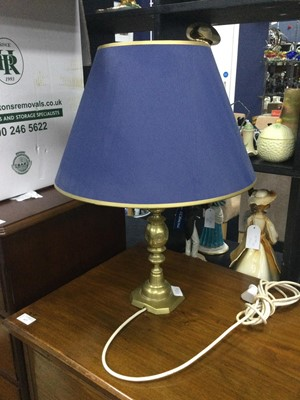Lot 120 - A BRASS TABLE LAMP, ANOTHER LAMP AND SMALL RUG