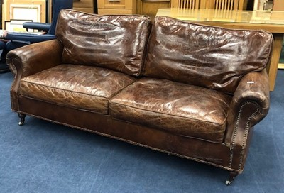 Lot 113 - A BROWN LEATHER THREE SEAT SETTEE