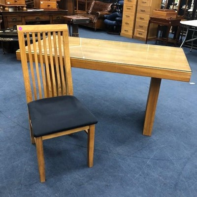 Lot 109 - A MODERN OAK DINING TABLE AND FOUR CHAIRS