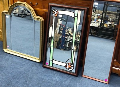 Lot 72 - A RENNIE MACKINTOSH STYLE WALL MIRROR AND TWO OTHER MIRRORS