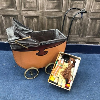 Lot 73 - A VINTAGE DOLLS PRAM AND DOLLS