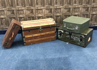 Lot 78 - A WOOD CABIN TRUNK, ANOTHER AND TWO SUITCASES