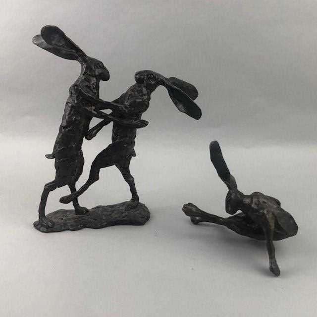 Lot 68 - A BRONZE FIGURE GROUOP OF FIGHTING HARES AND ANOTHER OF A SEATED HARE