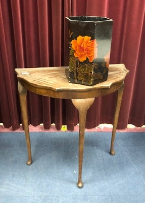 Lot 247 - A MAHOGANY SERPENTINE SIDE TABLE AND A PAPER BIN