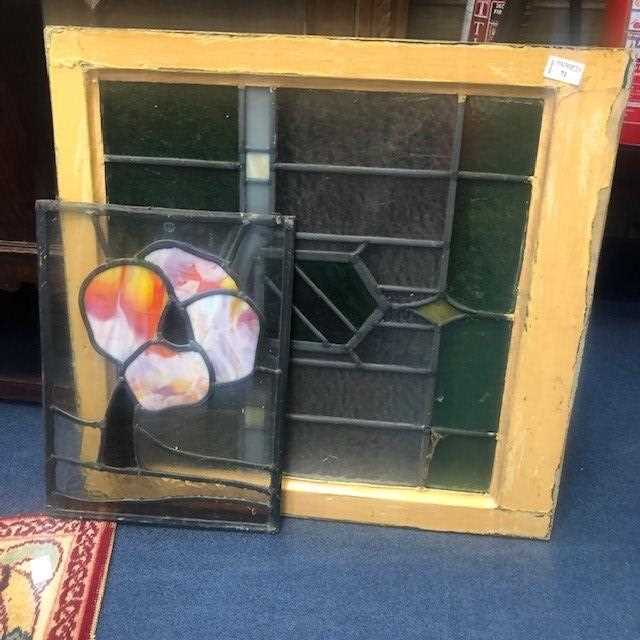 Lot 71 - A DECORATIVE STAINED GLASS PANEL AND ANOTHER SMALLER PANEL
