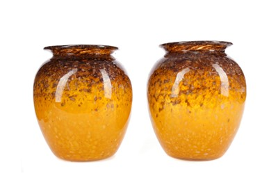Lot 1018 - A PAIR OF MONART GLASS VASES