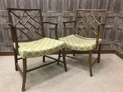 Lot 1316 - A PAIR OF MAHOGANY COCKPEN OPEN ELBOW CHAIRS