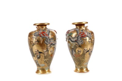 Lot 737 - A PAIR OF EARLY 20TH CENTURY JAPANESE SATSUMA VASES