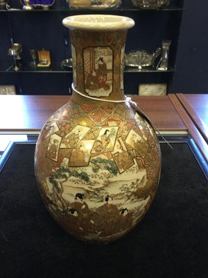 Lot 708 - A JAPANESE SATSUMA VASE