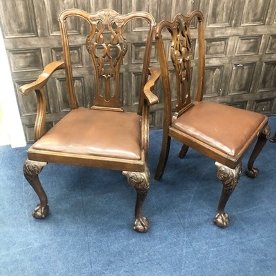 Lot 191 - A SET OF SIX MAHOGANY DINING CHAIRS