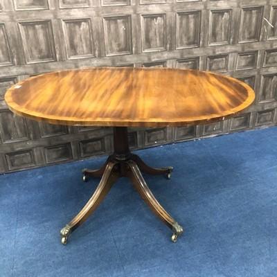 Lot 124 - A MAHOGANY SINGLE PILLAR DINING TABLE