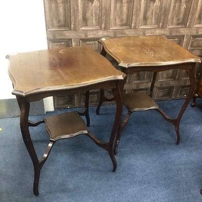 Lot 181 - A PAIR OF MAHOGANY TWO TIER OCCASIONAL TABLES