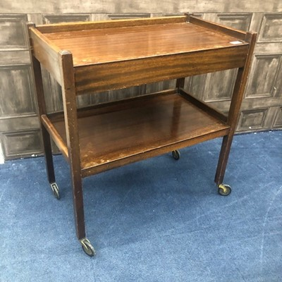 Lot 185 - A MAHOGANY TWO TIER TROLLEY AND A MODERN COFFEE TABLE